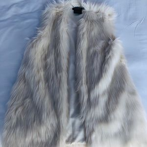 Lauren Ralph Lauren White Faux Fur Long Vest